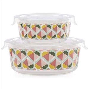 New Kate Spade NY Round Geo Spade Food Storage Set